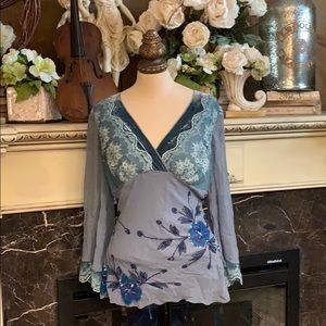 Hale Bob velvet lace sequined embellished top